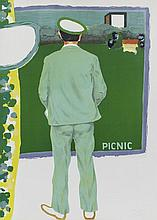 Picnic, original signed lithograph by Roger Raveel