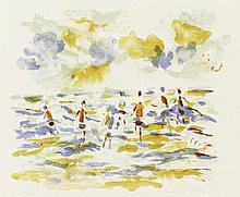 Figures on the beach, signed lithograph by Friso ten Holt