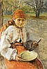 Axentowicz Teodor - GIRL WITH A DISH, oil, cardboard