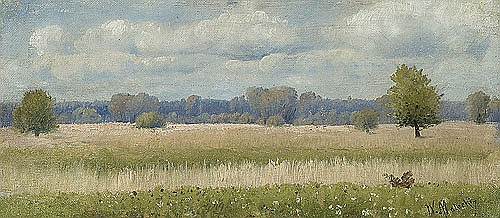 Malecki Władysław Aleksander - SUMMER LANDSCAPE WITH CORN FIELD, oil, canvas on cardboard
