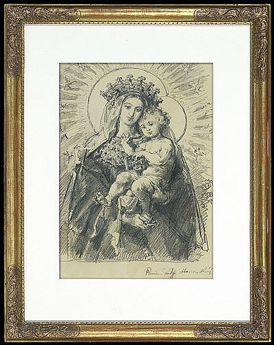 Matejko Jan - OUR LADY WITH CHILD, 1888, pencil,paper