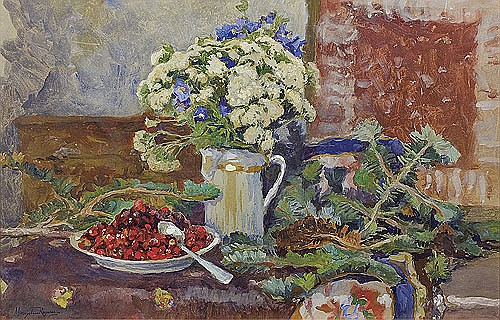 Reyzner Mieczysław - STILL LIFE WITH BOUQUET OF FLOWERS, watercolour, gouache