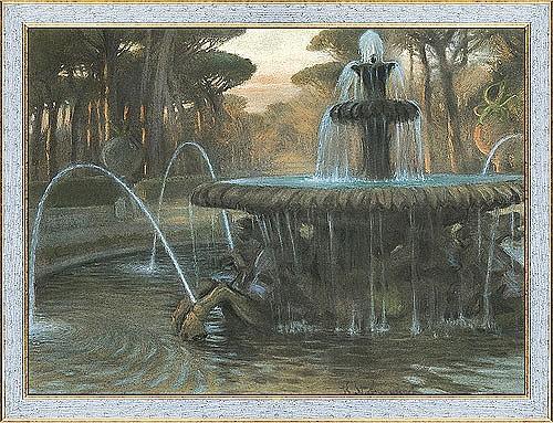 Stabrowski Kazimierz - ROME. FONTANA DEI CAVALLI MARINI, BEFORE 1913, pastel, paper