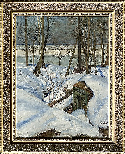 Kolesnikow Stiepan Fiodorowicz - WINTER LANDSCAPE WITH RIVER, 1920, oil, canvas