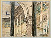 Wyczółkowski Leon - THE CLOISTERED WALKWAYS OF THE ROYAL CASTLE, 1918, crayon, watercolor, paper