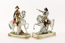 Two Porcelain Figural Groups, French Military
