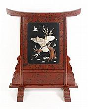 Chinese Lacquered Screen w/Ivory & MOP Bird Scene