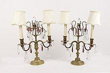 Pair of Gilt Bronze Candelabras w/Crystals