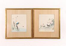 Pair of Japanese Watercolor Paintings of Birds