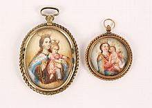 Two Paintings on Ivory of Crowned Madonna & Child