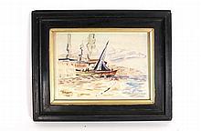 Paul Signac Harbor Scene, Watercolor on Paper