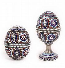 Two Michael Perchin Russian Enamel Eggs