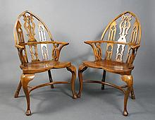 Pair of Gothic Windsor Yew Wood Armchairs