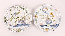 Pair of French Hand Painted Faience Plates