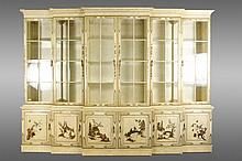 Large Chinoiserie Decorated Breakfront Cabinet