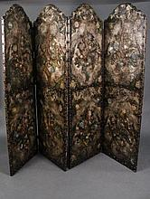 Italian Hand Painted & Embossed Leather Screen