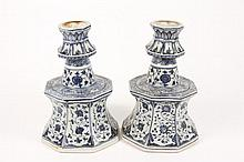 Pair of Chinese Blue & White Motif Candle Sticks