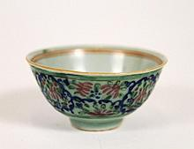 Chinese Porcelain Bowl w/Floral Motif, Marked