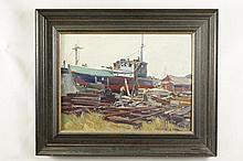 George Renouard Oil on Canvas Board of Shipyard