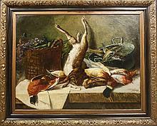 Follower of Von Tamm, Still Life Oil with Rabbit