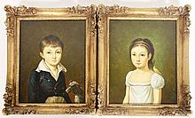 Manner of Van Gorp, Two Portraits of a Boy & Girl