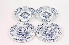 Group of 4 Meissen/Dresden Blue & White Plates