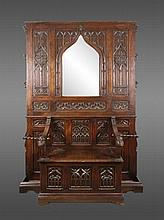 French Gothic Revival Oak Settle or Hall Tree