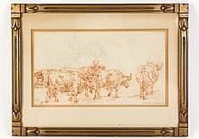 17th C. Old Master Pastoral Drawing, Paulus Potter