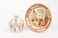Two Asian Porcelain Items--Plate & Lidded Teacup
