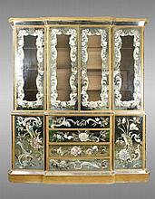Venetian Style Painted Mirrored Breakfront Cabinet
