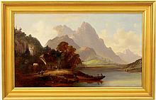 Continental Landscape with Figures, 19th C.