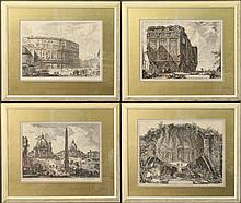 Group of Four Piranesi Vedute Etchings