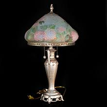 Reverse Painted Glass Floral Lamp