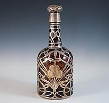 Amber Glass & Silver Decanter