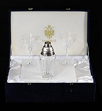 Faberge crystal martini shaker set