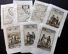 Mallet, Alain Manesson 1683-1719 Group of 9 Prints & Maps. Africa & North Africa