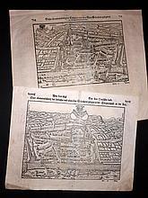 Munster, Sebastian 1561-C1580 Pair of Folio Birdseye Woodcut Views of Solothurn, Switzerland