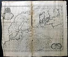 Wells, Edward 1701 Map of Scandinavia with Inset of Denmark