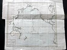 Buffon, Comte de & Sonnini, Nicolas Sigisbert 1799 Hand Coloured Map of the Pacific Ocean. Australia, East Indies, USA