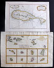 Bonne, Rigobert & Bellin, Jacques C1750-88 Pair of Hand Coloured Maps of St. Kitts & Virgin Islands. West Indies Caribbean