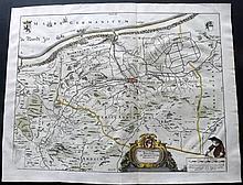 Blaeu, Johan & Creite, E. L 1735 Hand Coloured Map of Dunkirk region, France