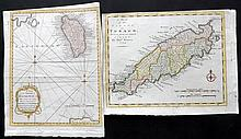 Bowen, Thomas 1778-79 Pair of Hand Coloured West Indies Maps. Dominica & Tobago