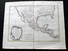 Bonne, Rogobert 1771 Hand Coloured Map of Mexico, Texas, California, Louisiana, US
