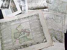 Maps 17th-19th Century. Lot of 13 Mostly Europe. Sanson, Salmon, d'Anville, etc