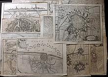 Rapin, de Thoyras & Tindal, Nicholas 1743 Lot of 13 Battle Plans & Town/Fort Plans. Netherlands, Belgium, France
