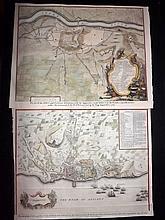 Rapin, de Thoyras & Tindal, Nicholas 1743 Pair of Hand Coloured Battle & Naval Plans of Spain. Alicante & Lerida