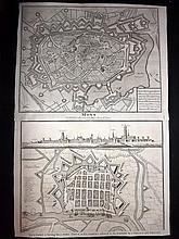 Rapin, de Thoyras & Tindal, Nicholas 1743 Pair of Maps of Belgium & Netherlands. Newport & Mons - Town Fort Plans