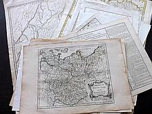 Europe 17th-18th Century. Lot of 25 Hand Coloured Copper Engraved Maps.