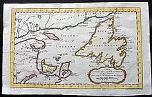 Bellin, Jacques C1760 Hand Coloured Map of St. Lawrence Bay, Canada