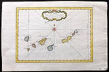 Bellin, Jacques C1750 Hand Coloured Map of Canary Islands, Spain. Tenerife, Fuerteventura, Gran Canaria, Lanzarote